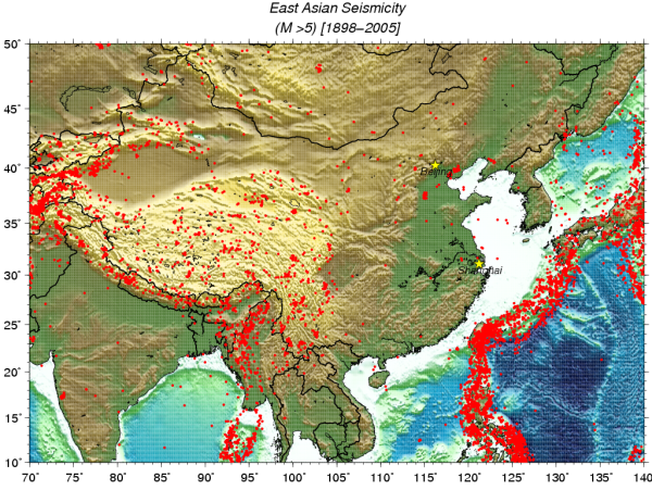 click on above image for PDF version of the East Asian Seismicity map.